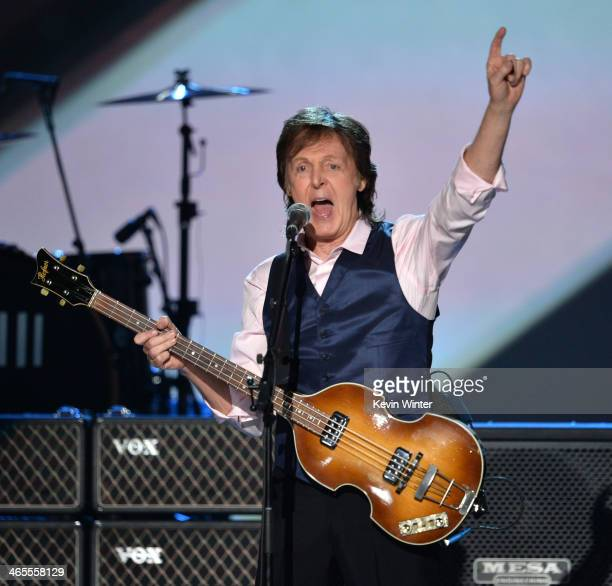 Recording artist Paul McCartney performs onstage during 'The Night That Changed America A GRAMMY Salute To The Beatles' at the Los Angeles Convention...