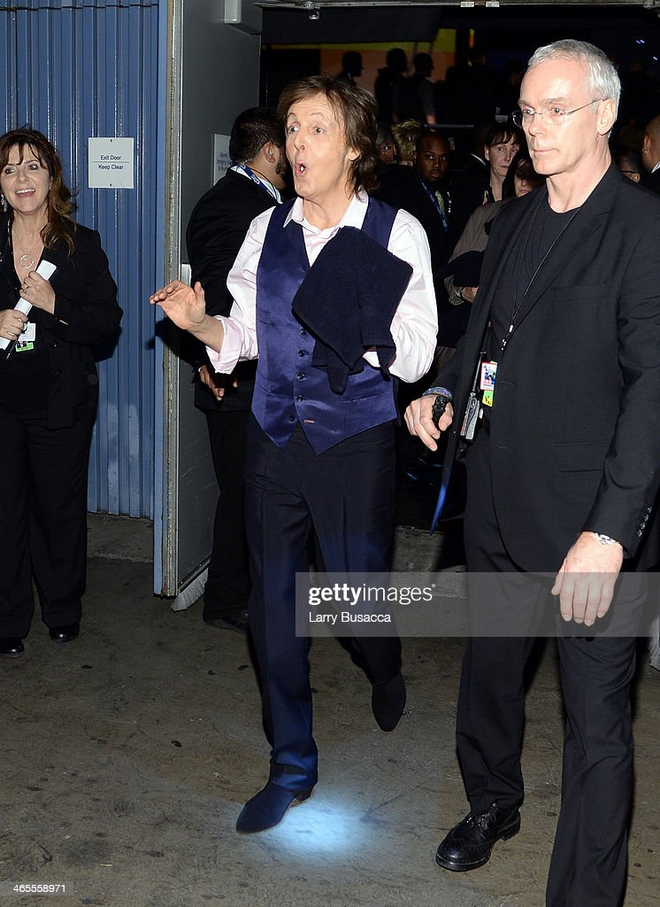 Recording artist <a gi-track='captionPersonalityLinkClicked' href=/galleries/search?phrase=Paul+McCartney&family=editorial&specificpeople=92298 ng-click='$event.stopPropagation()'>Paul McCartney</a> poses backstage during 'The Night That Changed America: A GRAMMY Salute To The Beatles' at the Los Angeles Convention Center on January 27, 2014 in Los Angeles, California.