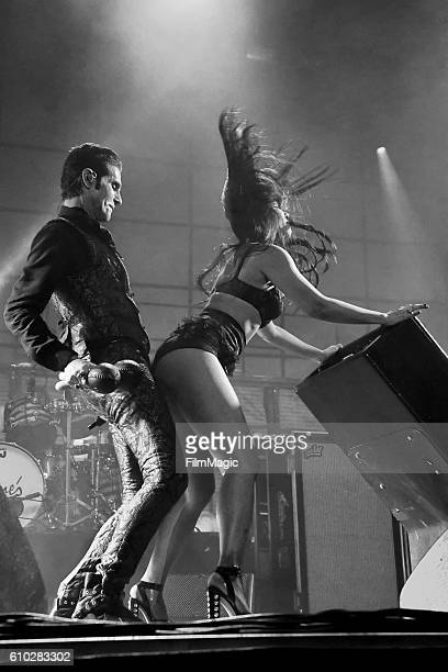 Image has been converted to black and white Recording artist Perry Farrell of Jane's Addiction performs on Ambassador Stage during day 2 of the Life...