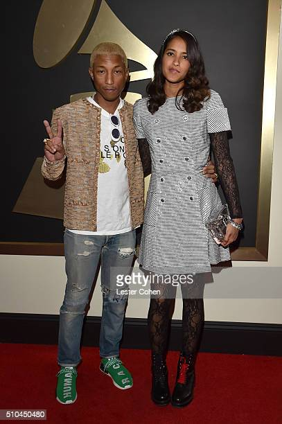 Recording artist Pharrell Williams and Helen Lasichanh attend The 58th GRAMMY Awards at Staples Center on February 15 2016 in Los Angeles California