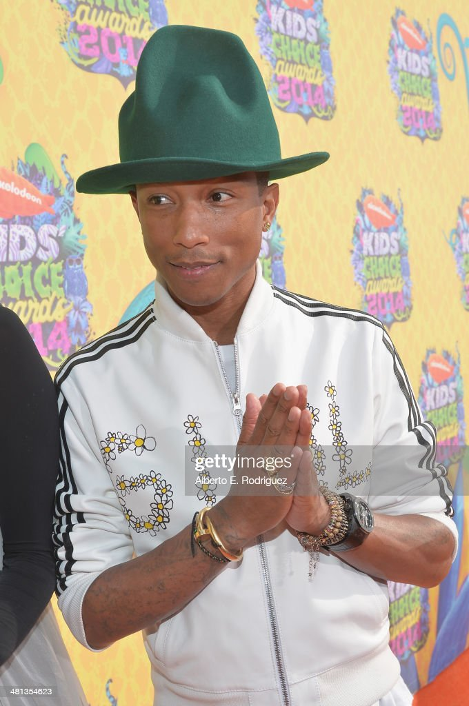 Recording artist <a gi-track='captionPersonalityLinkClicked' href=/galleries/search?phrase=Pharrell+Williams&family=editorial&specificpeople=161396 ng-click='$event.stopPropagation()'>Pharrell Williams</a> attends Nickelodeon's 27th Annual Kids' Choice Awards held at USC Galen Center on March 29, 2014 in Los Angeles, California.