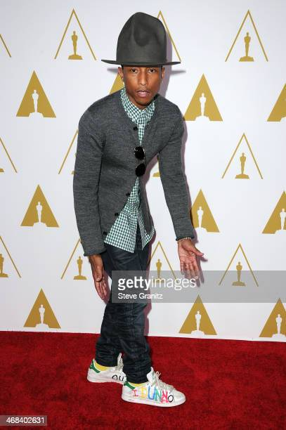 Recording artist Pharrell Williams attends the 86th Academy Awards nominee luncheon at The Beverly Hilton Hotel on February 10 2014 in Beverly Hills...
