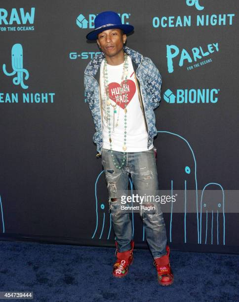 Recording artist Pharrell Williams attends the GStar RAW Ocean Night Event during MercedesBenz Fashion Week Spring 2015 at 23 Wall Street on...