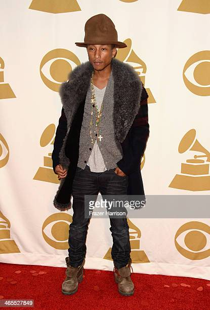 Recording artist Pharrell Williams attends 'The Night That Changed America A GRAMMY Salute To The Beatles' at the Los Angeles Convention Center on...
