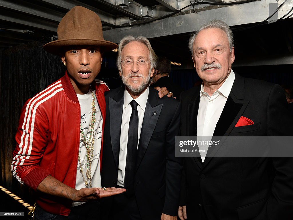 Recording artist <a gi-track='captionPersonalityLinkClicked' href=/galleries/search?phrase=Pharrell+Williams&family=editorial&specificpeople=161396 ng-click='$event.stopPropagation()'>Pharrell Williams</a>, CEO/President of the National Academy of Recording Arts & Sciences <a gi-track='captionPersonalityLinkClicked' href=/galleries/search?phrase=Neil+Portnow&family=editorial&specificpeople=208909 ng-click='$event.stopPropagation()'>Neil Portnow</a>, and <a gi-track='captionPersonalityLinkClicked' href=/galleries/search?phrase=Giorgio+Moroder&family=editorial&specificpeople=3147062 ng-click='$event.stopPropagation()'>Giorgio Moroder</a> attend the 56th GRAMMY Awards at Staples Center on January 26, 2014 in Los Angeles, California.
