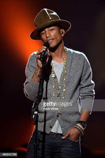 Recording artist Pharrell Williams performs onstage during 'The Night That Changed America A GRAMMY Salute To The Beatles' at the Los Angeles...