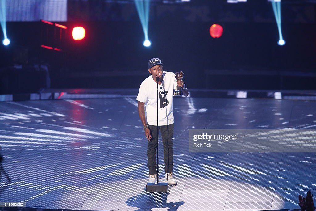 Recording artist Pharrell Williams speaks onstage during the iHeartRadio Music Awards at The Forum on April 3, 2016 in Inglewood, California.