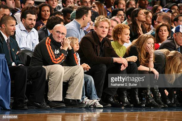 Recording artist Phil Collins and actor Matthew Modine attend the New York Knicks opening night game against the Miami Heat on October 29 2008 at...