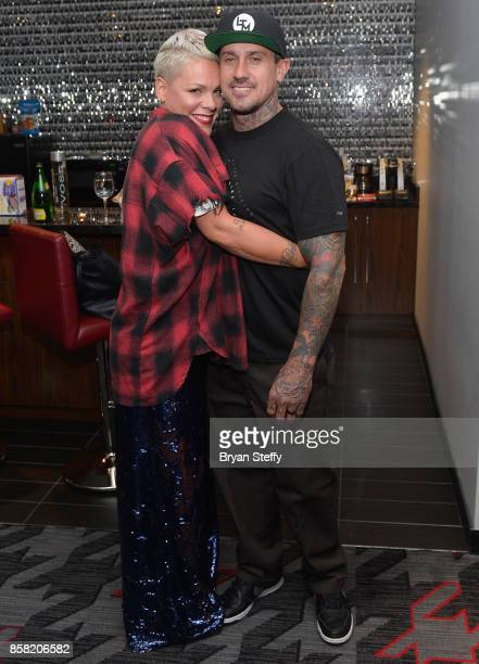 Recording artist Pink and Carey Hart attend a surprise event in support of Carey Hart's Good Ride Rally benefiting Infinite Hero Foundation at The D...