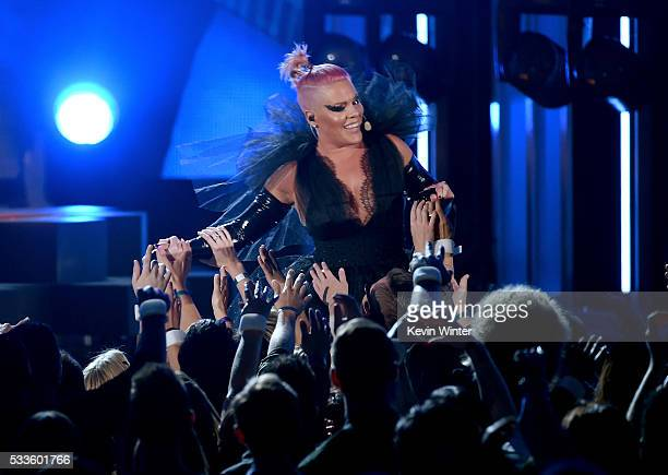 Recording artist Pink performs onstage during the 2016 Billboard Music Awards at TMobile Arena on May 22 2016 in Las Vegas Nevada