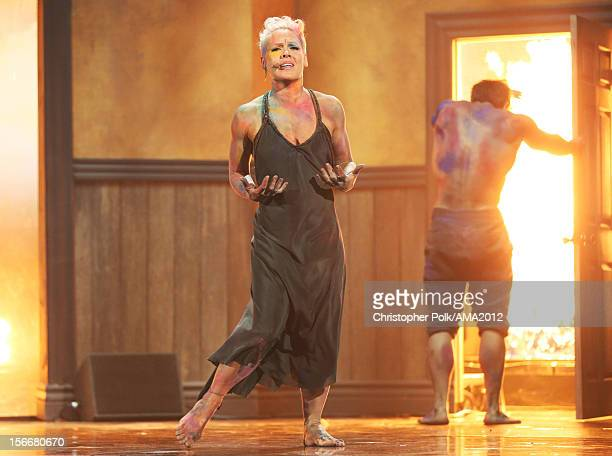 Recording artist Pink performs onstage during the 40th American Music Awards held at Nokia Theatre LA Live on November 18 2012 in Los Angeles...