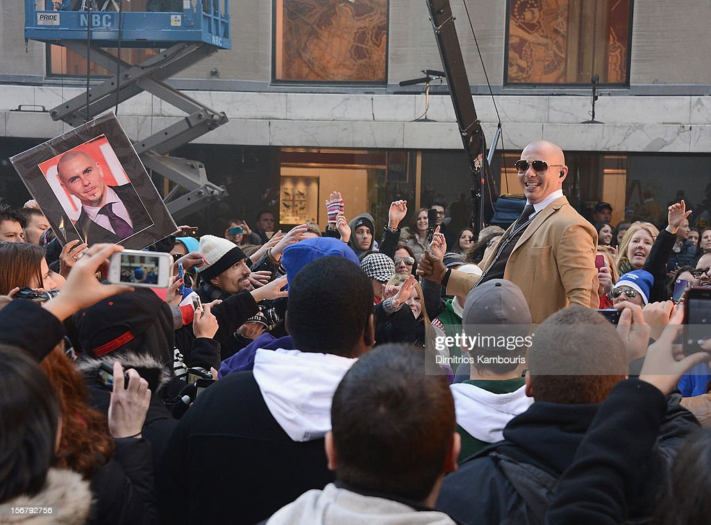 Recording artist Pitbull performs on NBC's 'Today' at Rockefeller Plaza on November 21, 2012 in New York City.