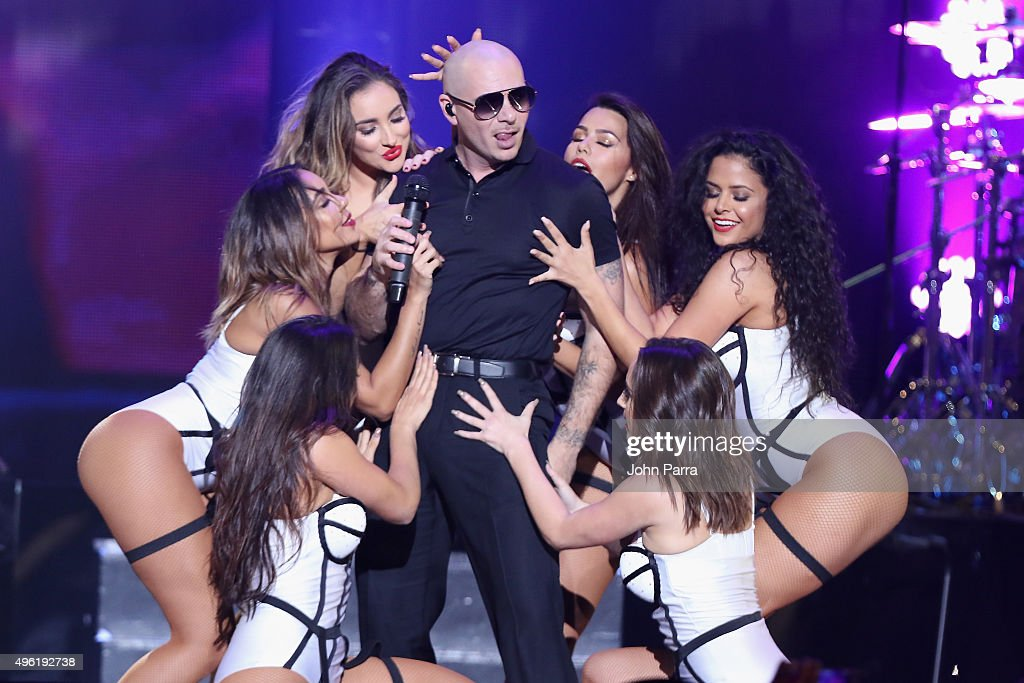 Recording artist Pitbull performs onstage at iHeartRadio Fiesta Latina presented by Sprint at American Airlines Arena on November 7 2015 in Miami...