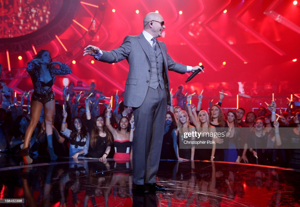 Recording artist Pitbull performs onstage during 'VH1 Divas' 2012 at The Shrine Auditorium on December 16, 2012 in Los Angeles, California.