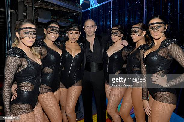 Recording artist Pitbull poses backstage at the 15th annual Latin GRAMMY Awards at the MGM Grand Garden Arena on November 20 2014 in Las Vegas Nevada