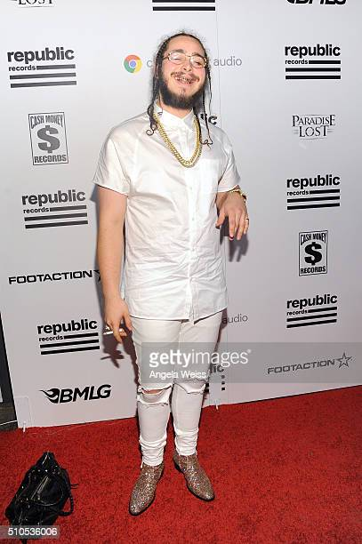 Recording artist Post Malone attends the Republic Records Grammy Celebration presented by Chromecast Audio at Hyde Sunset Kitchen Cocktail on...