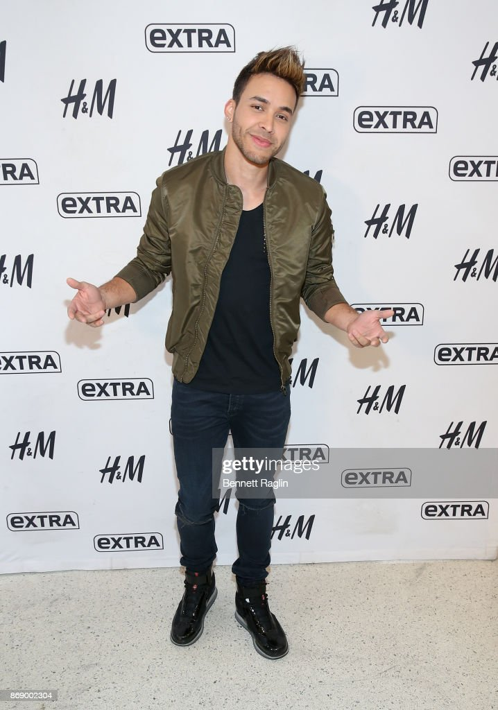 Recording artist Prince Royce visits Extra at H&M Times Square on November 1, 2017 in New York City.