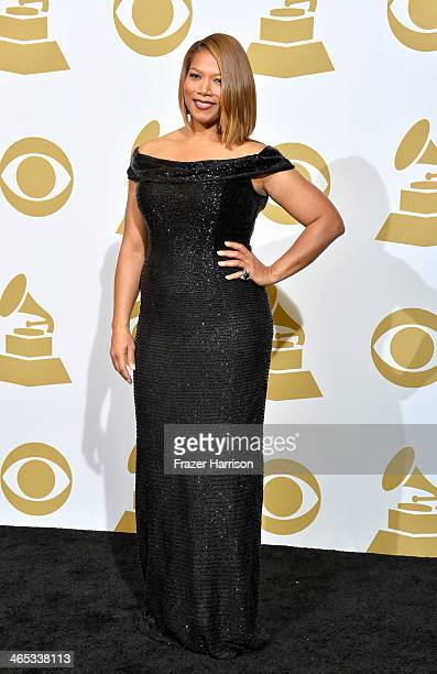 Recording artist Queen Latifah poses in the press room during the 56th GRAMMY Awards at Staples Center on January 26 2014 in Los Angeles California