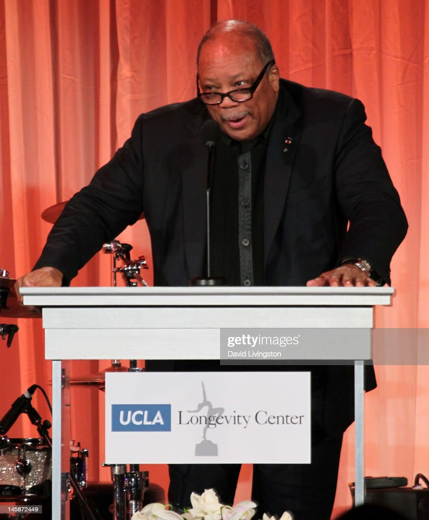 Recording artist <a gi-track='captionPersonalityLinkClicked' href=/galleries/search?phrase=Quincy+Jones&family=editorial&specificpeople=171797 ng-click='$event.stopPropagation()'>Quincy Jones</a> speaks on stage at the UCLA Longevity Center's 2012 ICON Awards at the Beverly Hills Hotel on June 6, 2012 in Beverly Hills, California.