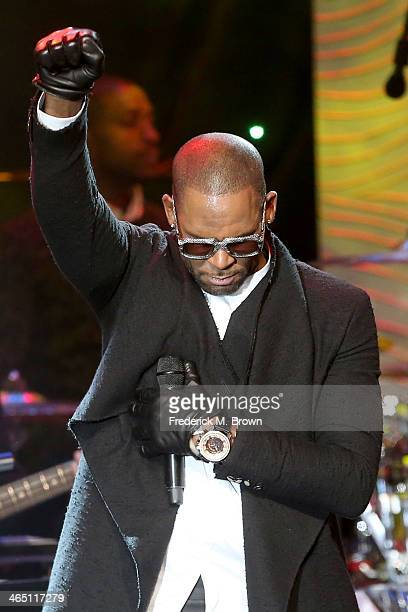 Recording artist R Kelly performs onstage during the 56th annual GRAMMY Awards PreGRAMMY Gala and Salute to Industry Icons honoring Lucian Grainge at...