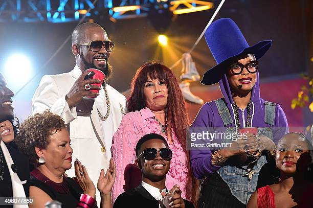 Recording artist R Kelly Soul Train dancer Cheryl Song host Erykah Badu and Chairwoman and CEO of BET Networks Debra Lee recording artist Silento and...
