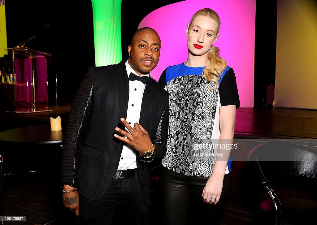 Recording artist Raheem Devaughn (L) and <a gi-track='captionPersonalityLinkClicked' href=/galleries/search?phrase=Iggy+Azalea&family=editorial&specificpeople=8558263 ng-click='$event.stopPropagation()'>Iggy Azalea</a> attend NARM 2013 meet and greet during the 2013 Music Biz Awards at the Hyatt Regency Century Plaza on May 9, 2013 in Los Angeles, California.