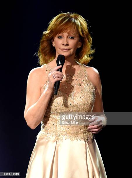 Recording artist Reba McEntire performs onstage during the 52nd Academy of Country Music Awards at TMobile Arena on April 2 2017 in Las Vegas Nevada