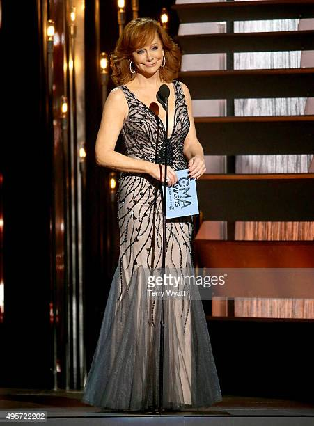 Recording artist Reba McEntire speaks onstage during the 49th annual CMA Awards at the Bridgestone Arena on November 4 2015 in Nashville Tennessee