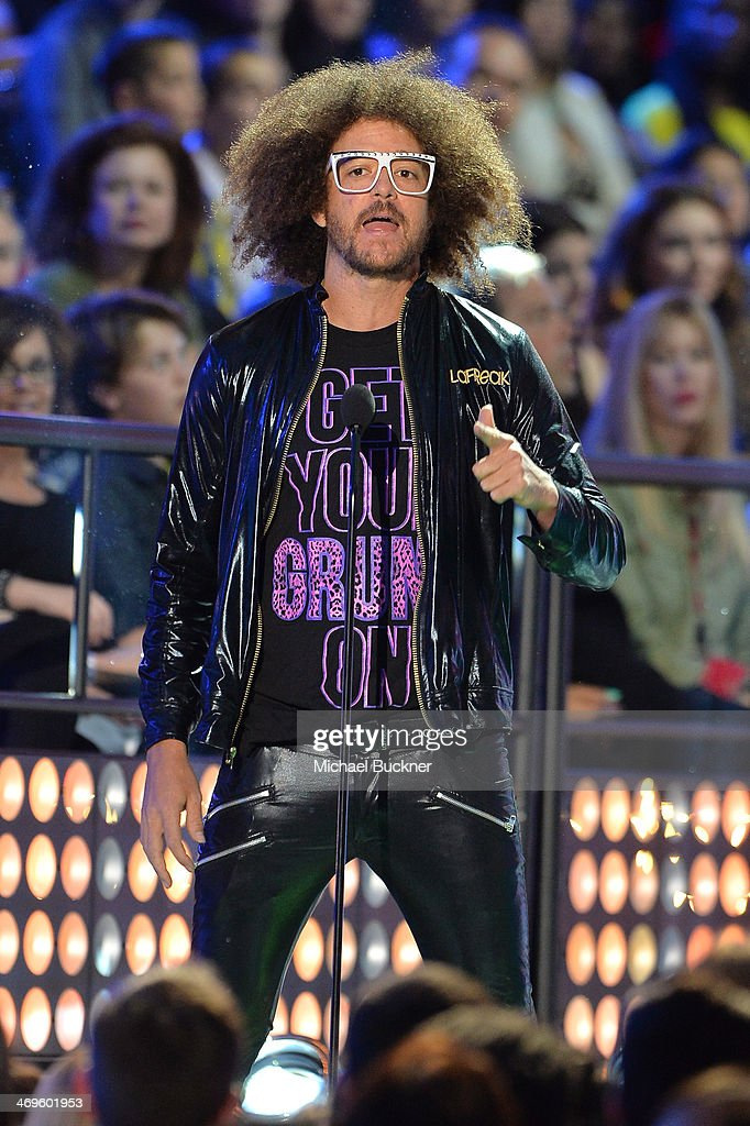 Recording artist <a gi-track='captionPersonalityLinkClicked' href=/galleries/search?phrase=Redfoo&family=editorial&specificpeople=5857552 ng-click='$event.stopPropagation()'>Redfoo</a> of LMFAO speaks onstage during Cartoon Network's fourth annual Hall of Game Awards at Barker Hangar on February 15, 2014 in Santa Monica, California.