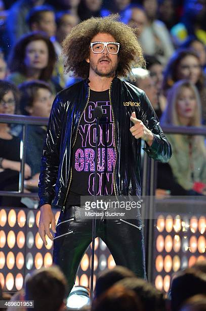 Recording artist Redfoo of LMFAO speaks onstage during Cartoon Network's fourth annual Hall of Game Awards at Barker Hangar on February 15 2014 in...