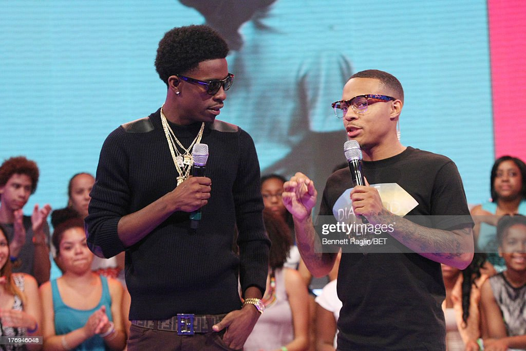 Recording artist Rich Homie Quan and <a gi-track='captionPersonalityLinkClicked' href=/galleries/search?phrase=Bow+Wow+-+Rapper&family=editorial&specificpeople=211211 ng-click='$event.stopPropagation()'>Bow Wow</a> attend 106 & Park at 106 & Park Studio on August 19, 2013 in New York City.
