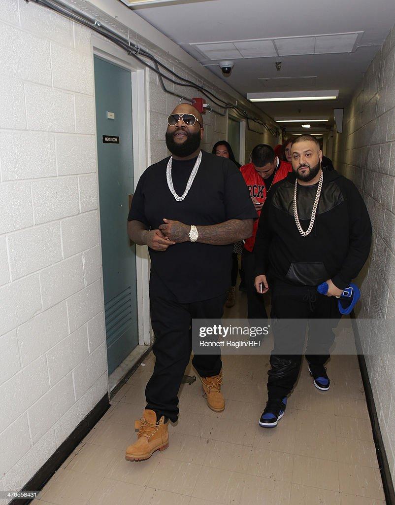Recording artist Rick Ross and DJ Khaled visit 106 & Parkat BET studio on March 3, 2014 in New York City.