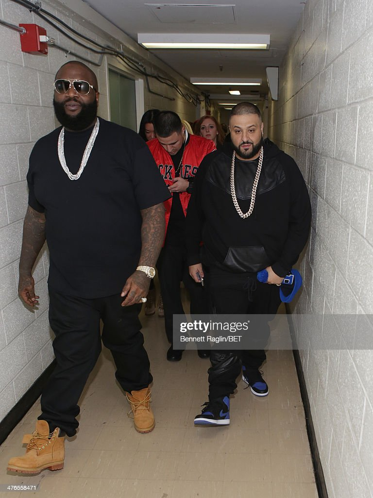 Recording artist Rick Ross and DJ Khaled visit 106 & Parkat BET studio on March 3, 2014 in New York City.