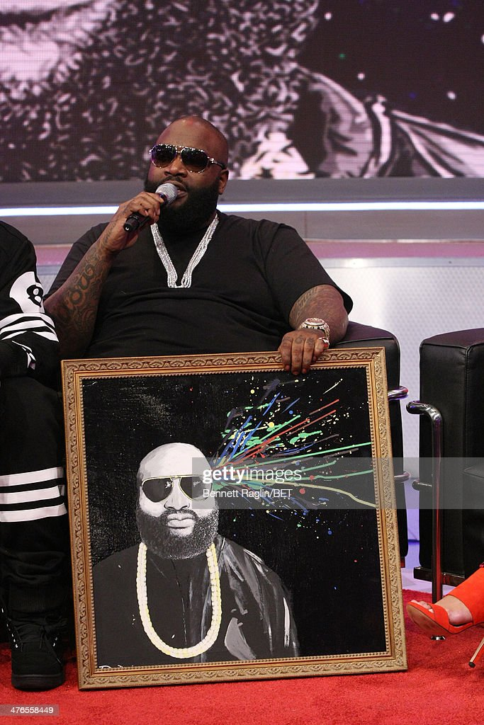 Recording artist <a gi-track='captionPersonalityLinkClicked' href=/galleries/search?phrase=Rick+Ross+-+Rapper&family=editorial&specificpeople=11492924 ng-click='$event.stopPropagation()'>Rick Ross</a> visits 106 & Parkat BET studio on March 3, 2014 in New York City.