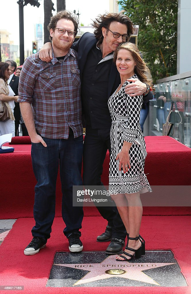 Recording artist Rick Springfield (C), posing with wife Barbara Porter (R) and son, is honored with a Star on the Hollywood Walk of Fame on May 9, 2014 in Hollywood, California.