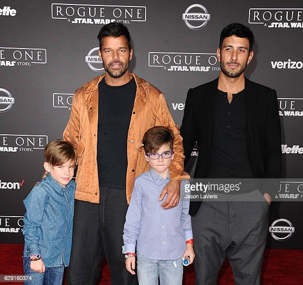 Recording artist Ricky Martin artist Jwan Yosef and sons Matteo Martin and Valentino Martin attend the premiere of 'Rogue One A Star Wars Story' at...