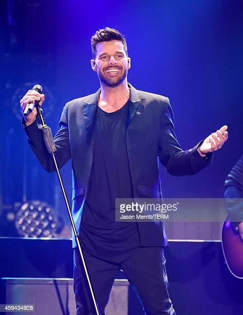 Recording artist Ricky Martin performs onstage during the iHeartRadio Fiesta Latina festival presented by Sprint at The Forum on November 22 2014 in...