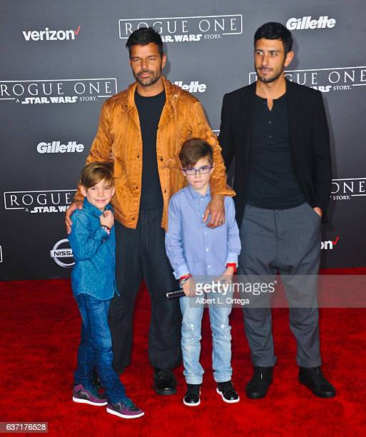Recording Artist Ricky Martin sons Matteo Martin and Valentino Martin and artist Jwan Yosef arrives for the Premiere Of Walt Disney Pictures And...