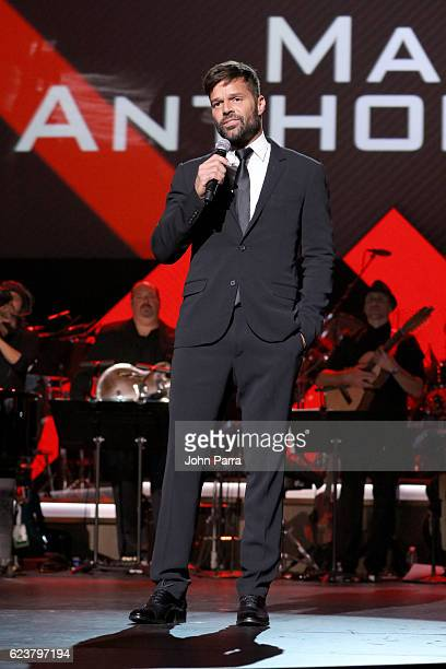 Recording artist Ricky Martin speaks onstage during the 2016 Person of the Year honoring Marc Anthony at MGM Grand Garden Arena on November 16 2016...