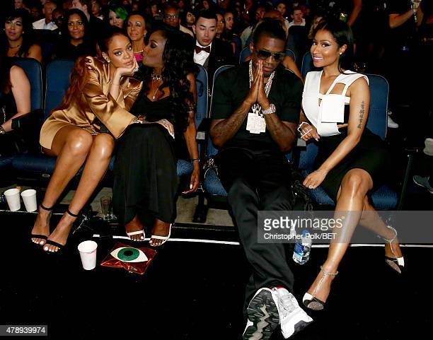 Recording artist Rihanna a guest and recording artists Meek Mill and Nicki Minaj attend the 2015 BET Awards at the Microsoft Theater on June 28 2015...