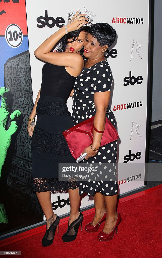 Recording artist <a gi-track='captionPersonalityLinkClicked' href=/galleries/search?phrase=Rihanna&family=editorial&specificpeople=453439 ng-click='$event.stopPropagation()'>Rihanna</a> (L) and mother Monica Braithwaite attend <a gi-track='captionPersonalityLinkClicked' href=/galleries/search?phrase=Rihanna&family=editorial&specificpeople=453439 ng-click='$event.stopPropagation()'>Rihanna</a>'s naming as the Queen of the West Hollywood Halloween Carnaval by the City of West Hollywood in celebration of Halloween 2012 at Greystone Manor Supperclub on October 31, 2012 in West Hollywood, California.