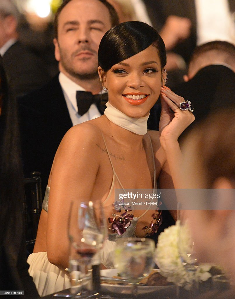 Recording artist Rihanna attends amfAR LA Inspiration Gala honoring Tom Ford at Milk Studios on October 29, 2014 in Hollywood, California.