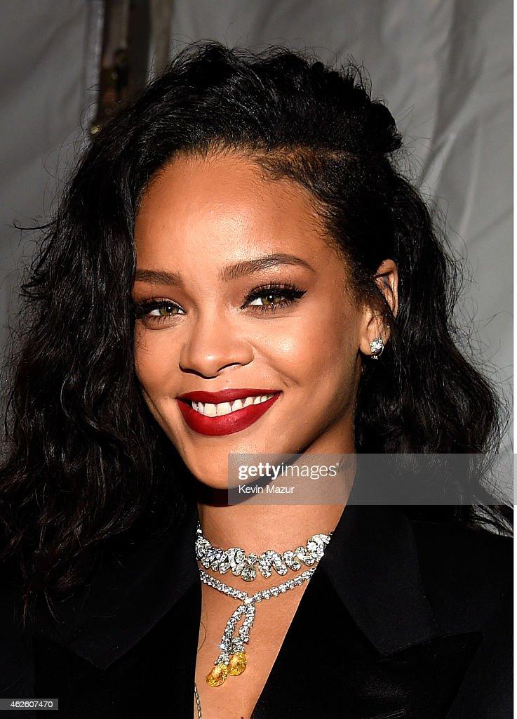 Recording artist Rihanna attends DirecTV Super Saturday Night hosted by Mark Cuban's AXS TV and Pro Football Hall of Famer Michael Strahan at...