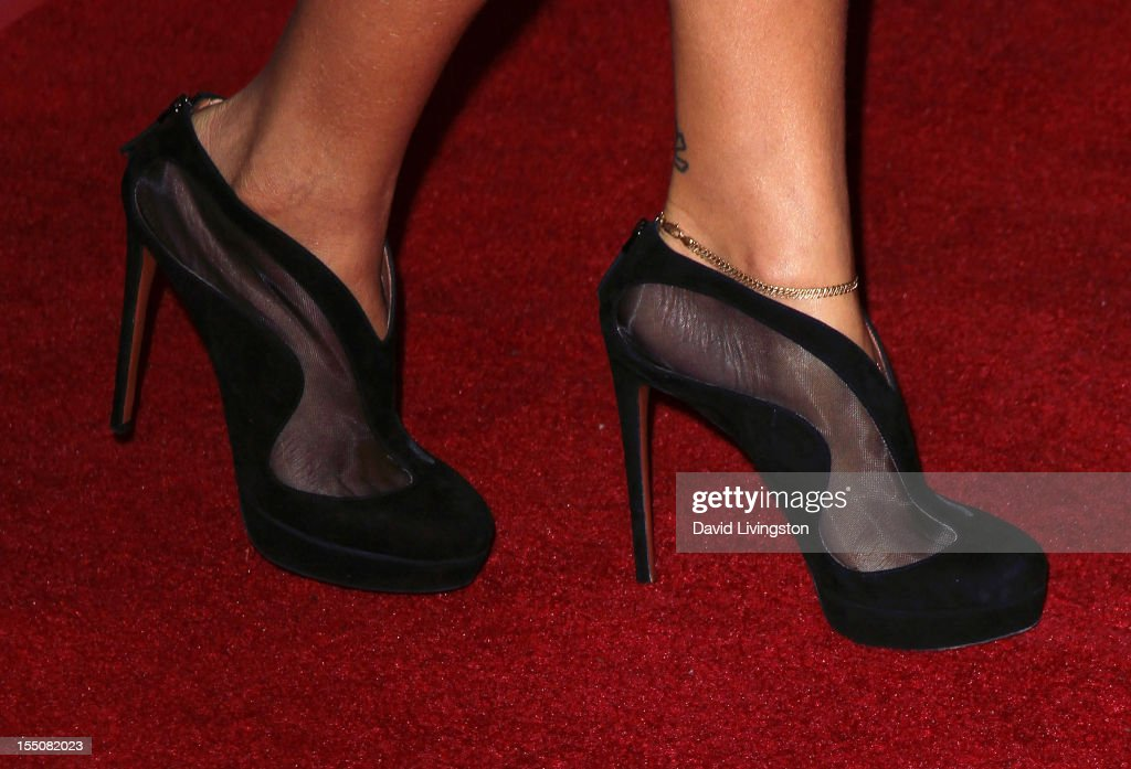 Recording artist Rihanna (shoe detail) attends her naming as the Queen of the West Hollywood Halloween Carnaval by the City of West Hollywood in celebration of Halloween 2012 at Greystone Manor Supperclub on October 31, 2012 in West Hollywood, California.