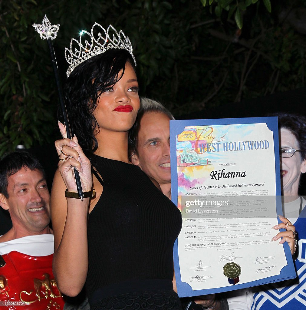 Recording artist <a gi-track='captionPersonalityLinkClicked' href=/galleries/search?phrase=Rihanna&family=editorial&specificpeople=453439 ng-click='$event.stopPropagation()'>Rihanna</a> attends her naming as the Queen of the West Hollywood Halloween Carnaval by the City of West Hollywood in celebration of Halloween 2012 at Greystone Manor Supperclub on October 31, 2012 in West Hollywood, California.