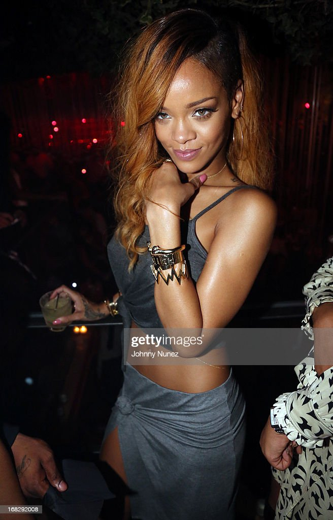 Recording artist <a gi-track='captionPersonalityLinkClicked' href=/galleries/search?phrase=Rihanna&family=editorial&specificpeople=453439 ng-click='$event.stopPropagation()'>Rihanna</a> attends Talib Kweli's Album Release Party at Greenhouse on May 7, 2013, in New York City.