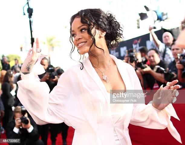 Recording artist Rihanna attends the 2014 MTV Movie Awards at Nokia Theatre LA Live on April 13 2014 in Los Angeles California