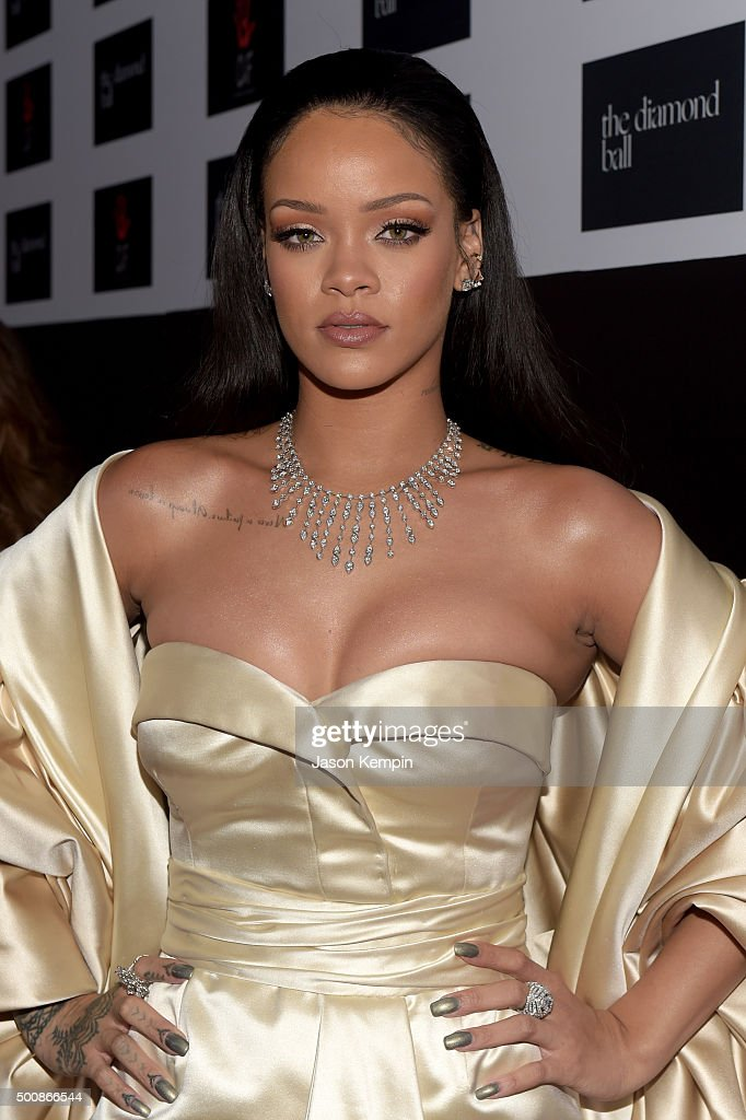 Recording artist <a gi-track='captionPersonalityLinkClicked' href=/galleries/search?phrase=Rihanna&family=editorial&specificpeople=453439 ng-click='$event.stopPropagation()'>Rihanna</a> attends the 2nd Annual Diamond Ball hosted by <a gi-track='captionPersonalityLinkClicked' href=/galleries/search?phrase=Rihanna&family=editorial&specificpeople=453439 ng-click='$event.stopPropagation()'>Rihanna</a> and The Clara Lionel Foundation at The Barker Hanger on December 10, 2015 in Santa Monica, California.