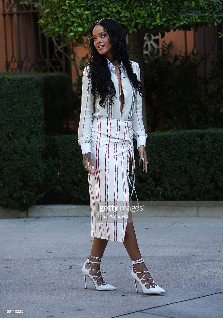 Recording Artist Rihanna attends the Roc Nation preGrammy brunch on January 25 2014 in Los Angeles California