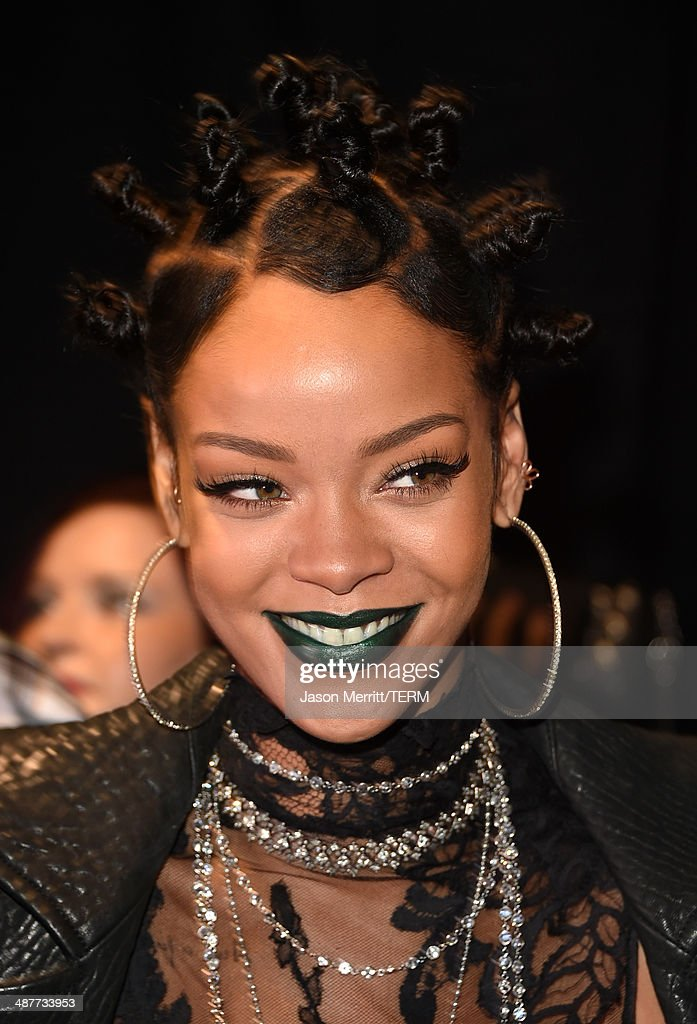 Recording artist Rihanna backstage at the 2014 iHeartRadio Music Awards held at The Shrine Auditorium on May 1 2014 in Los Angeles California...